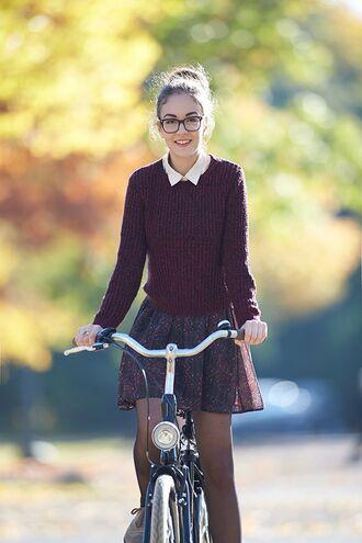 dress white collar burgundy sweater sweater