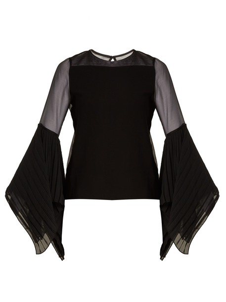 blouse silk black top