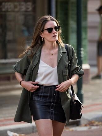 inspiring wit blogger jacket tank top skirt shoes sunglasses bag jewels