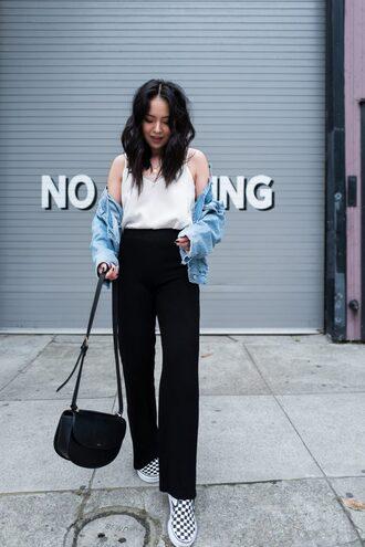the fancy pants report blogger pants top shoes bag jacket denim jacket shoulder bag black pants slip on shoes
