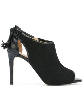 women booties leather black shoes