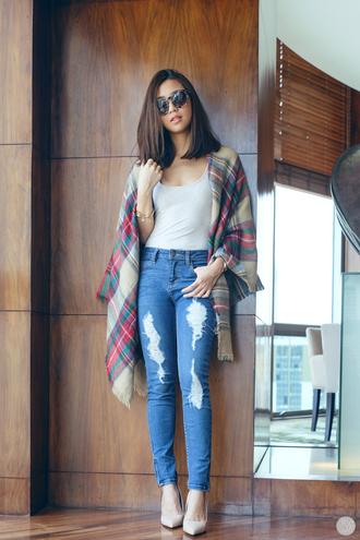 kryzuy blogger scarf jeans shoes bag sunglasses