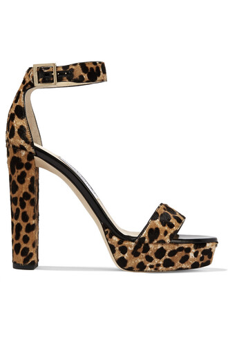 hair sandals platform sandals print leopard print shoes