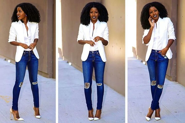 blouse jacket jeans shoes