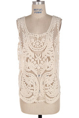 Ivory crochet sheer cover up