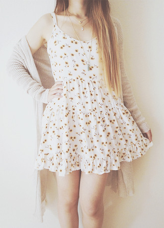 flowers cute dress white dress pattern floral pattern sunflower sunflower dress cardigan