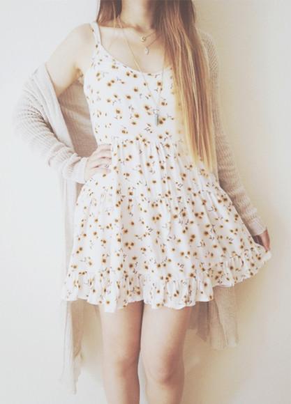 sunflower floral cardigan cute dress white dress pattern floral sunflower dress