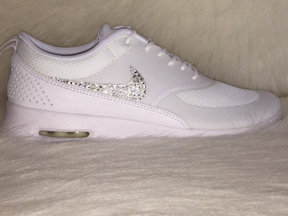 f98db25bd6 NEW just IN HOT Sale Women's Nike Air Max Thea Running Shoes white on white Bling  shoes swarovski ...