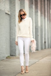brooklyn blonde,blogger,white jeans,knitwear,feathers,clutch,nude high heels,classy,nude sweater,skinny jeans,bag,furry pouch,sunglasses,cat eye,pointed toe pumps,pumps