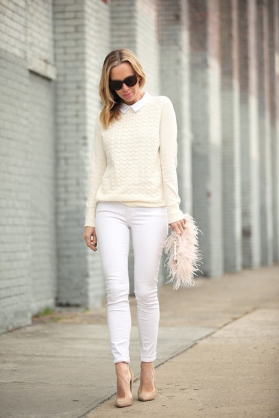 brooklyn blonde blogger white jeans knitwear feathers clutch nude high heels classy nude sweater skinny jeans bag furry pouch sunglasses cat eye pointed toe pumps pumps