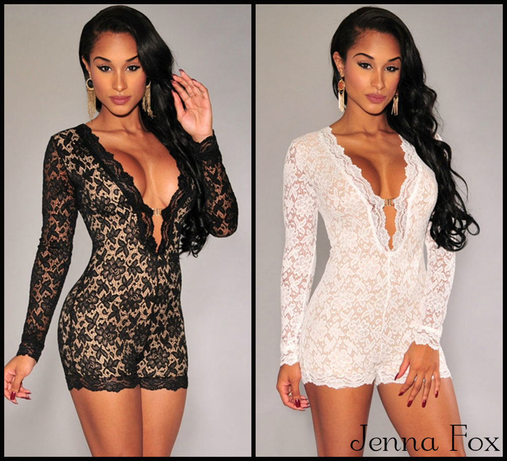 New sexy women's celeb lace long sleeve romper party playsuit jumpsuit dress