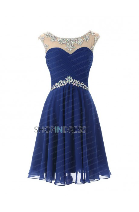 Line scoop short/mini chiffon royal blue 2015 homecoming dress with beaded npd2062 sale at shopindress.com