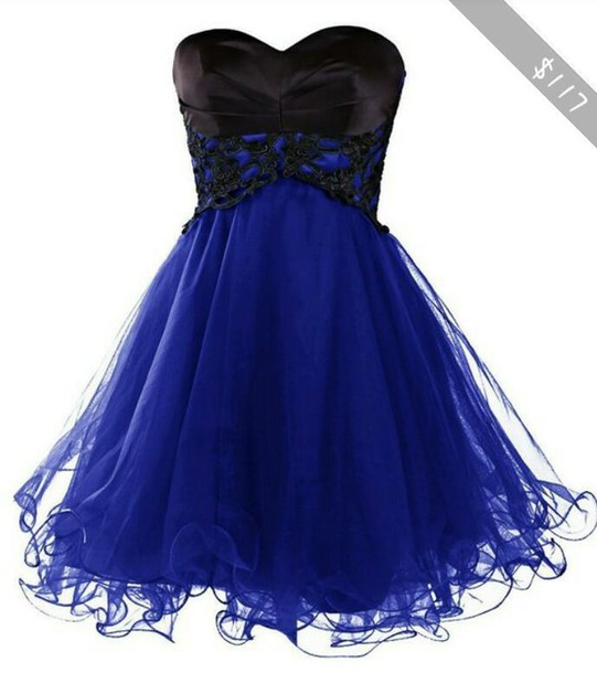 Black and blue dresses for prom