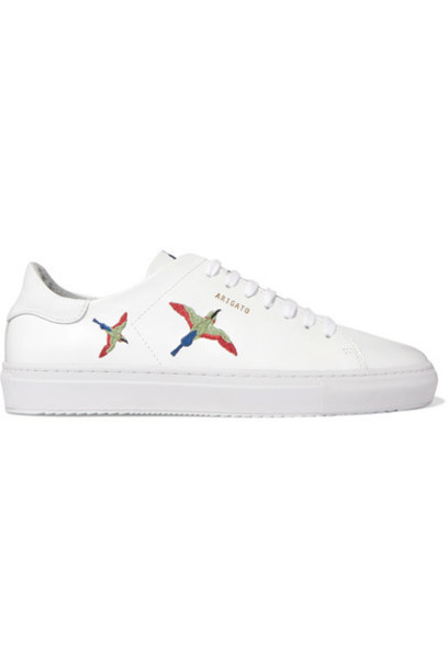 embroidered sneakers leather white shoes