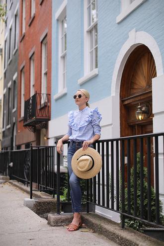 shirt ruffled top hat tumblr blue shirt gingham ruffle denim jeans blue jeans sun hat sandals slide shoes