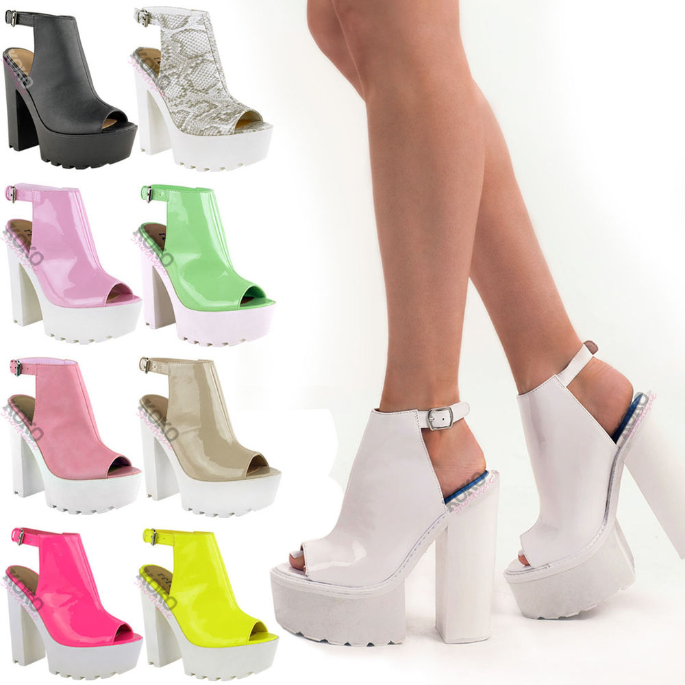 WOMENS CLEATED SOLE HIGH HEEL CHUNKY PLATFORM BOOTS SANDALS SHOES SIZE