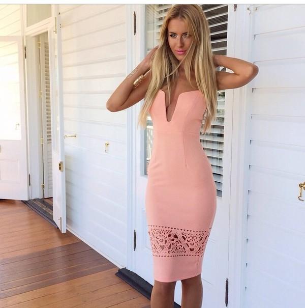 coral dress coral colored heart shaped low cut dress dress pencil dress design