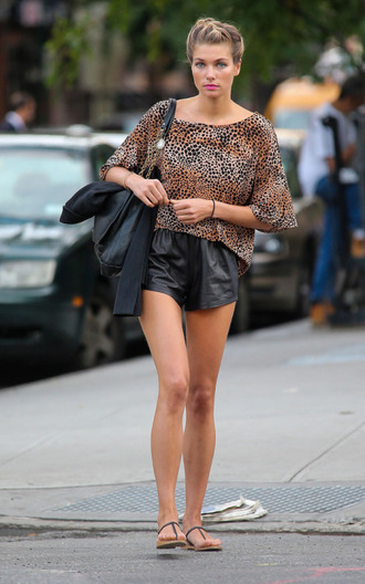 shorts jessica hart celebrity style celebrity leather shorts black shorts top animal print flat sandals sandals
