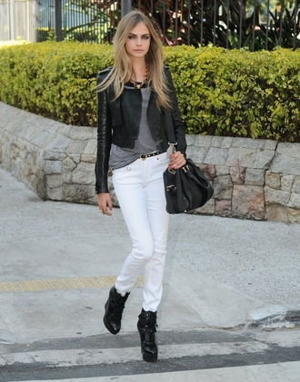 jeans grey jacket bag heels belt cara delevingne delevingne accessories top