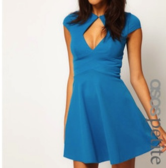v-neck short sleeves short dress blue dress cap sleeves keyhole cut-out dress