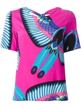 blouse printed blouse purple pink top