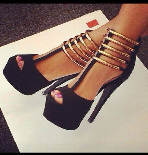 shorts high heels shoes gold dress