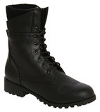 Tatum knit cuff lace up military boots in black