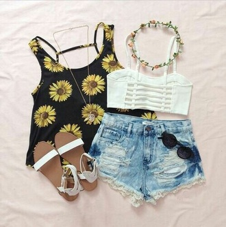 tank top black cute yellow flowers shirt daises