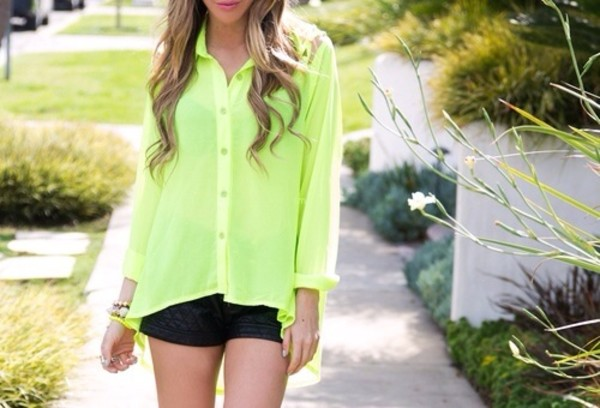 blouse neon neon green blouse