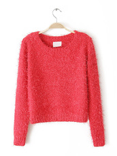 round-neck,furred,red,long sleeves,crop,knitsweater,pullover