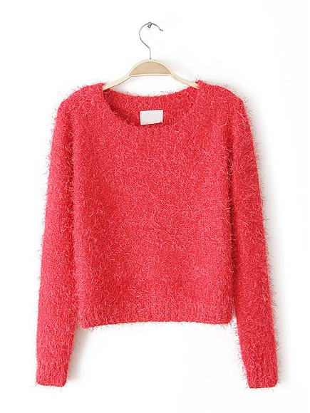 red round-neck furred long-sleeved crop knitsweater pullovers