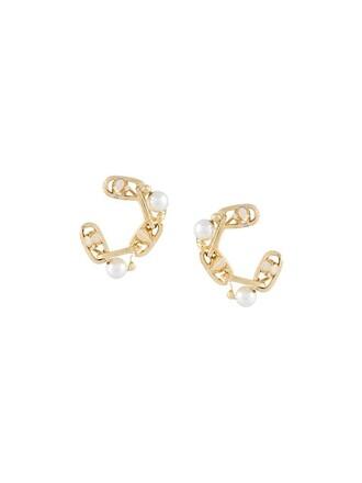 pearl embellished earrings metallic jewels
