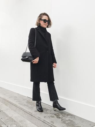 trini blogger sunglasses coat jeans shoes black coat chanel bag chanel ankle boots