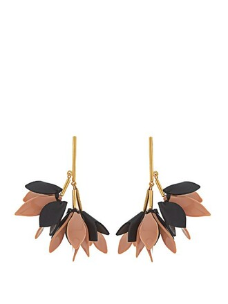 earrings leather black pink jewels