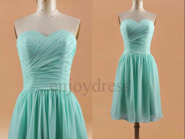 Mint green short dresses memes for Short green wedding dresses