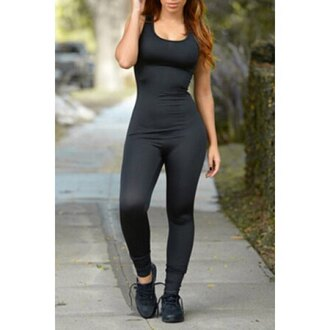 jumpsuit black casual all black everything rose wholesale gym athletic