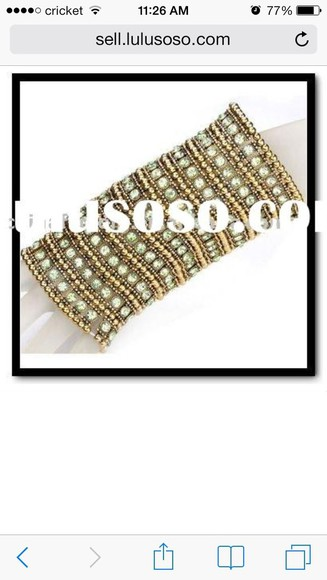 elastic bag jewels bracelets gold beads bracelet