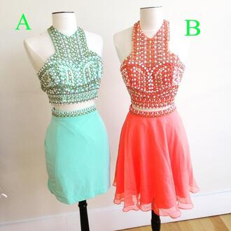 dress two-piece 2k15 prom halter dress beading dress prom