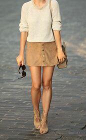 skirt,mini skirt,suede skirt,camel suede skirt,sweater,nude sweater,sunglasses,bag,celine bag,sandals,nude sandals