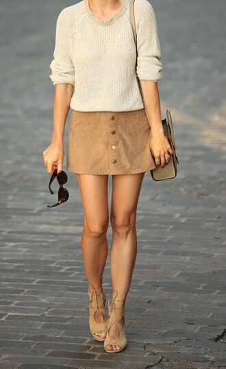 skirt mini skirt suede skirt camel suede skirt sweater nude sweater sunglasses bag celine bag sandals nude sandals