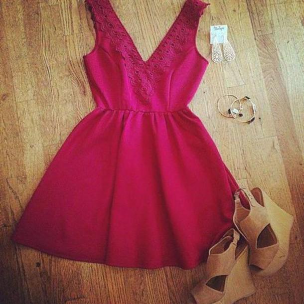 dress valentines day dress red dress cute dress v neck dress
