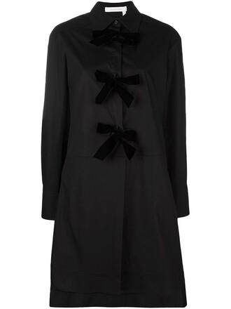 dress shirt dress bow long black