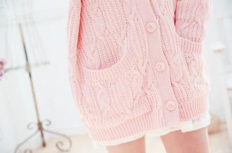 pastel pink bottons cardigan
