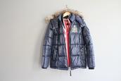 jacket,puffer jacket,blue padded jacket,fur trim jacket,black puffer jacket