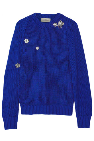 sweater embellished cotton blue bright