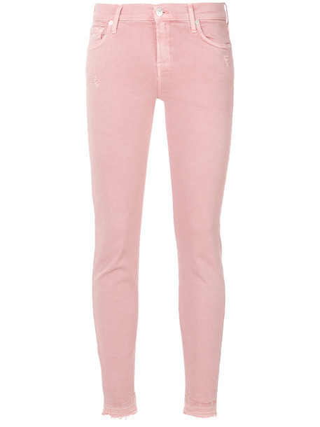 7 For All Mankind jeans skinny jeans women spandex cotton purple pink