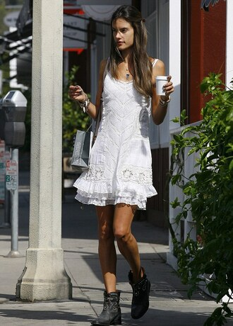dress white crochet dress alessandra ambrosio shoes
