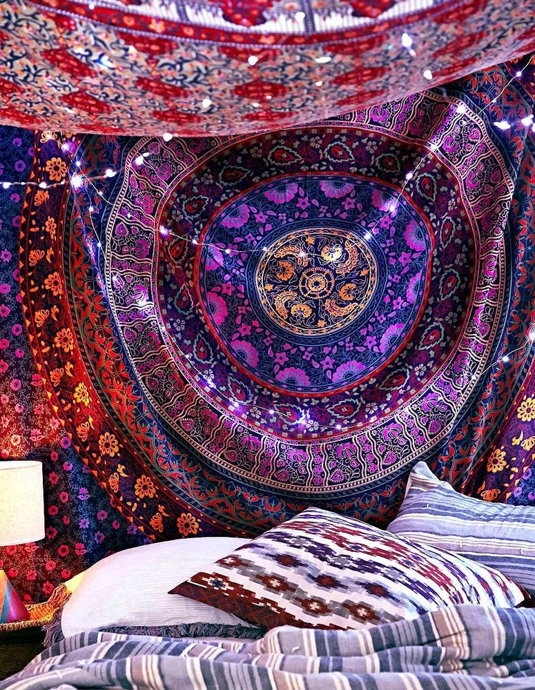 Hippie Indian Mandala Tapestry Psychedelic Tapestries Boho Bedding Decor Art