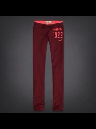 pants hollister sweatpants burgundy skinny women bettys red betty