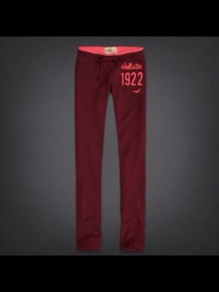betty pants hollister sweatpants burgundy skinny pants red womens bettys